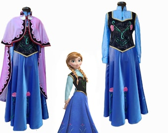 Anna Frozen dress with cap/ Anna Frozen dress/Girls and women Anna From Frozen complete costume/Complete Anna from Frozen costume  sc 1 st  Etsy : frozen character costumes for adults  - Germanpascual.Com