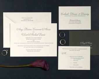 Letterpress Wedding Invitation Suite with RSVP set & information card | Classic Wedding Invitations | Traditional Wedding Invitation