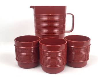 Vintage 1970s Rubbermaid Cognac Pitcher Set