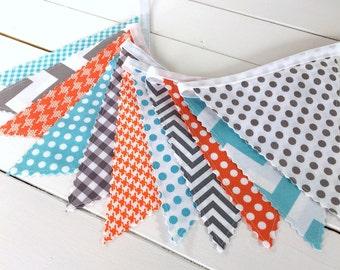 Bunting Banner Garland Baby Boy Nursery Decor Fabric Bunting Baby Shower Photography Props Orange Aqua Blue Grey Chevron Gray