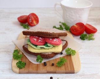 Crochet Sandwich/ Crochet Play Food/ Pretend Food/ Amigurumi Food/ Kitchen Decor/ Crochet Food
