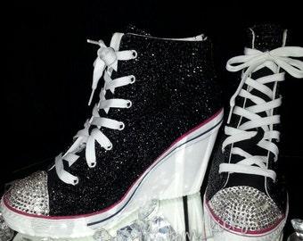 Bling Custom Made To Order Women's Canvas Wedge Sneaker