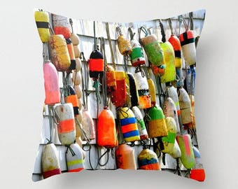 SALE, Colorful Fishing Floats,Art Photography, Throw Pillow Cover, Port Washington State, Water, Nautical, Ship Buoys, Rustic Accent Cushion