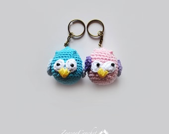 Set of two, Crochet owl keychain, Owl key rings, Amigurumi,  Little owl doll, Cellphone charm, Bag charm, Stuffed toy, CHOOSE YOUR COLOUR