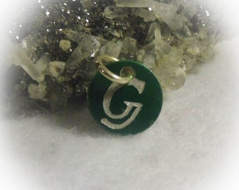 Letter G Hand Engraved Green Personalized Small  Charm 1/2 inch