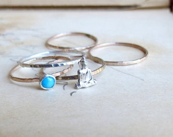 Stacking Rings Mix and Match Make Your own Set Custom Stack ring Set Hammered Bands Gold and Silver Gemstone Stack Rings Thin Midi Bands