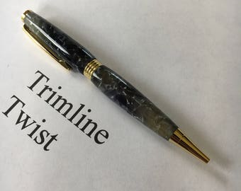 Crushed Black and Silver Trimline Twist Pen With 24k Gold Fittings