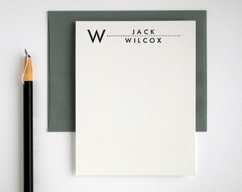 UTILITY Modern Letterpress Flat Notes - Personalized Stationery Set - Mid Century