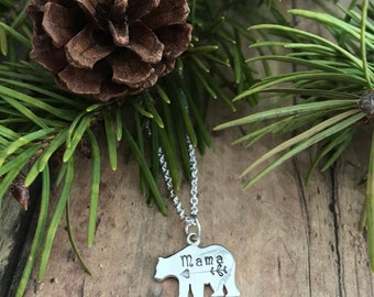 Mama Bear Mother's Necklace, Hand Stamped, Mama and Arrow Bear Necklace