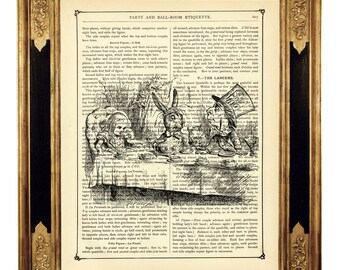 Alice in Wonderland Art Print Tea Party Mad Hatter White Rabbit - Vintage Victorian Book Page Art Print Steampunk Nursery b&w
