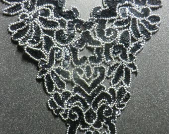 Sequin beaded applique,Black and silver bodice,skating costume, belly dance costume,gymnastic costume, prom dress, mardi gras,carnival trim