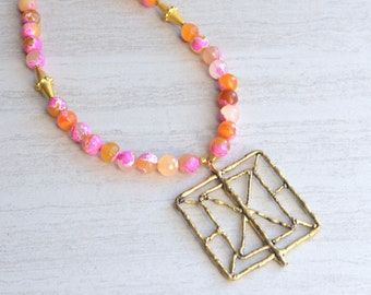 Marisol - Orange Pink Agate Pendant Long Gold Chain Statement Necklace