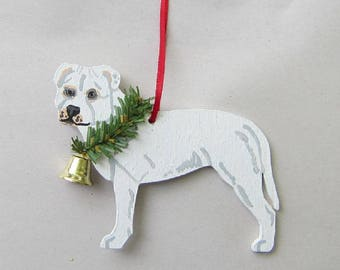 Hand-Painted PITBULL TERRIER WHITE Wood Christmas Ornament...Artist Original, Christmas Tree Ornament Decoration