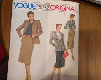 "Vogue 2405 Christian Dior Vogue Paris Original Size 12 Misses' Jacket, Skirt & Blouse Pattern 34"" Bust - Uncut - Couture Pattern"