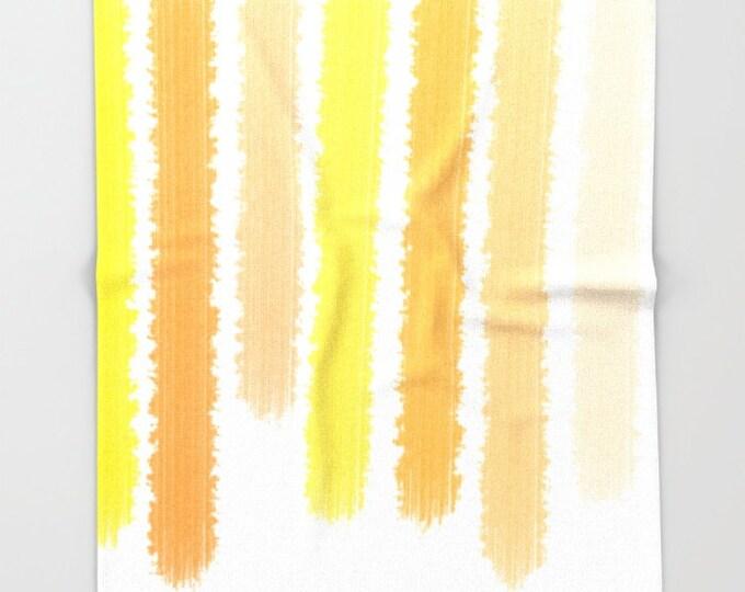 Orange Fleece Throw Blanket - Bedding - Orange and Yellow Stripes - Throw Blanket - Soft Fleece Blanket - Made to Order