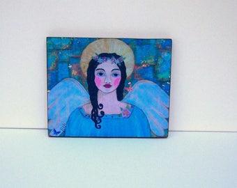"""Folk Art Angel Woodblock Print painting 8"""" x 10"""""""