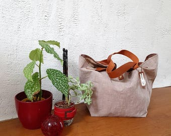 Hand DYED linen canvas tote bag
