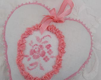 Cross stitch embroidered decorative heart