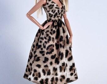 ELENPRIV chiffon with leopard print dress for Barbie Pivotal body dolls and similar size dolls