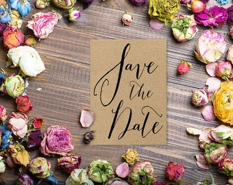 Kraft Save The Date Cards for Rustic Weddings / PRINTED Save-The-Date Card / Etsy Chic Weddings