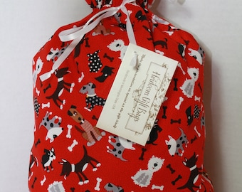 Cloth Gift Bags  Fabric Gift Bags Medium Gift Sack with Dogs Reusable Eco Friendly Drawstring Gift Sack