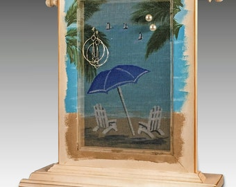 Table Top Earring Holder & Jewelry Organizer. Wood Frame Jewelry Holder features Hand Painted Beach Design. Includes Necklace Holder