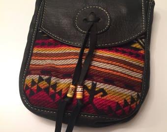 Leather and Handmade Fabric Crossbody Bag/ Adjustable/ Boho Crossbody Bag/ Small Leather Handbag /Leather Crossbody Bag