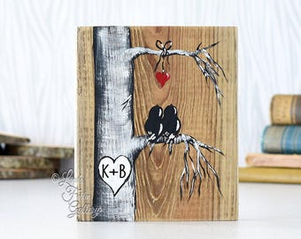 Rustic Wood Signs Reclaimed Wood Art Wood Sign Love Bird Painting Wood 5th Anniversary Gift Custom Wedding Gift for Couple You and Me Art