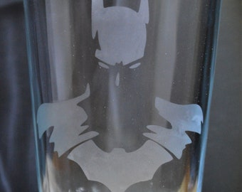 Hand Etched Tumbler Drinking Glass:Batman Dark Knight superhero A must have!!