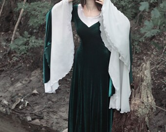 Emerald Elven Dress, Fairy Elven Wedding Gown, Pre-Raphaelites Gown