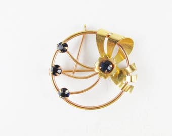 Vintage Gold Filled Courtly Brooch with Blue Stones