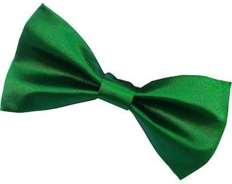 Nature Green Satin Bow tie w/ clip-on as attachment for kids boy toddler or baby Sizes NB - 7 Yrs