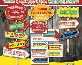 Instant Download!Carnival Party signs-Vintage Circus Party decoration-Carnival Birthday Decorations-Carnival Baby Shower -Both Directions