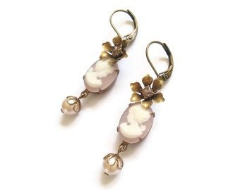 Pink Cameos Earrings with Flowers and Pearls - Victorian Marie Antoinette Style Earrings - Marcelline Earrings (SD005)