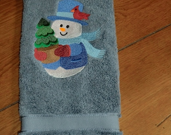 Embroidered Terry Hand Towel - Christmas - Snowman W/Cardinal & Tree - Denim Colored Towel