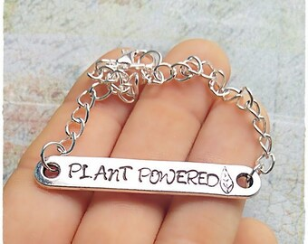 Plant Powered Bracelet Veganism Vegan for the animals Vegan Jewelry Animal Rights Custom Message Stamped Metal Vegan Gift Birthday Veggie