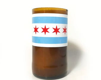 Soy Candles Chicago Flag / Soy Candle Recycled Glass / Upcycled Glass