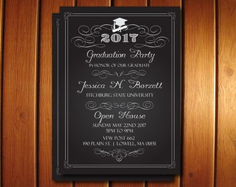 Chalkboard Graduation Invitations - College or High School Graduation Announcement