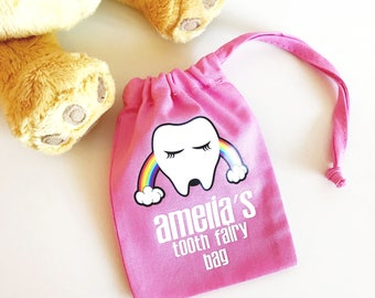 Personalised Rainbow Tooth Fairy Bag, Tooth Fairy Keepsake, Tooth Fairy Pouch, Tooth Fairy Sack, Tooth Fairy Bag, Gift For Kids