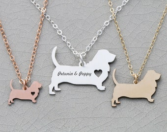 Basset Hound Dog Necklace • Dog Mom Gift Pet Mom Dog Loss Dog New • Pet Necklace Personalized Pet Rose Gold Pet Dog Mom Jewelry