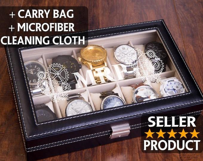 Watch Storage & Display, Custom Engraved Watch Box, Bridal Gift, Groomsman Best Man Gift, Men's Valet Box, Birthday, Men Christmas Gift