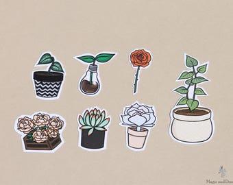 Plant Sticker Pack, 7 stickers, Handmade, Succulent, Rose