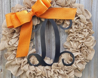 Halloween Wreath, Fall Wreath, Front Door Wreath, Orange and Black, Monogram Wreath, Burlap Wreath, Letter Wreath, Halloween Decoration