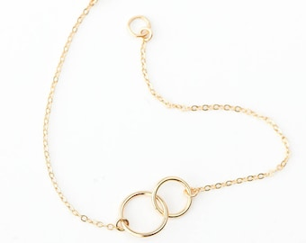 Linked Circle Bracelets, Friendship Bracelets, Gold Layering Bracelet, Eternity Bracelet in Sterling Silver, Gold, Rose Bracelet