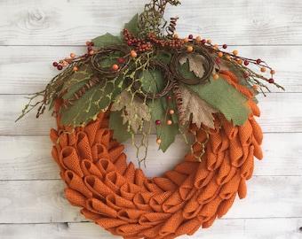 Burlap Petal Pumpkin Wreath