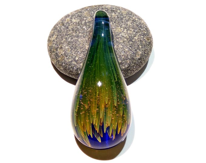 Glass Necklace Pendant - Handmade Jewelry - Blown Glass - Dragon Flower Tears - Raindrop - Green - Gold Shimmer - Art