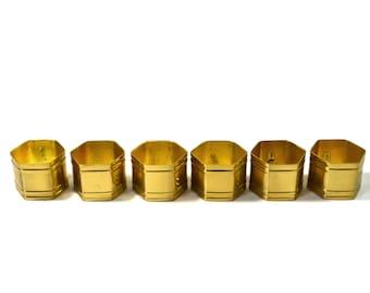 Vintage Brass Hexagon Napkin Rings Brass Napkin Rings Set of 6 Set of Gold Napkin Rings Hexagon Napkin Rings