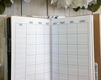 MONTHLY + HABIT Pocket TN Inserts // Monthly Calendar// Habit Tracker // Field Notes Traveler's Notebook Printed Planner