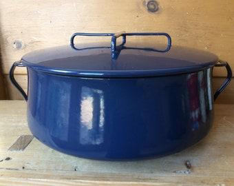 Vintage Dansk Kobenstyle Midnight Blue 8qt Pot Casserole Dutch Oven Enamelware France 1960s