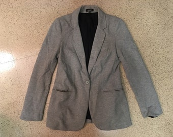 Gray Cotton, Pin-Striped Line Blazer from EXPRESS
